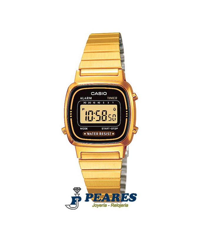 Reloj Casio digital Retro dorado. - LA-670WG-1