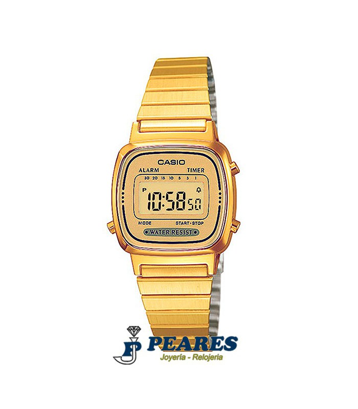 Reloj Casio digital Retro dorado. - LA-670WG-9