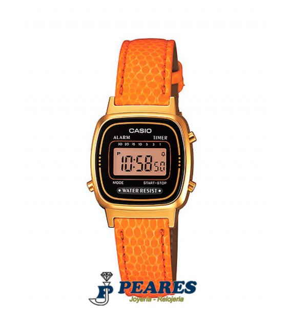 Reloj Casio digital Retro dorado. - LA-670WEGL-4A2