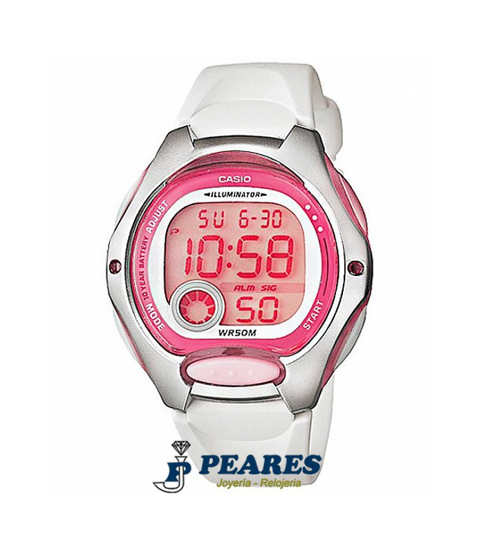 Reloj Casio digital rosa y blanco. - LW-200-7A
