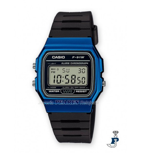 Casio Digital azul - F-91WM-2A