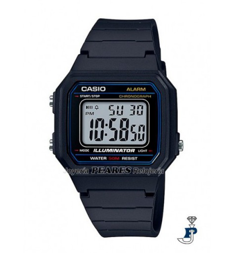 Casio digital PVC clasico. - W-217H-1A