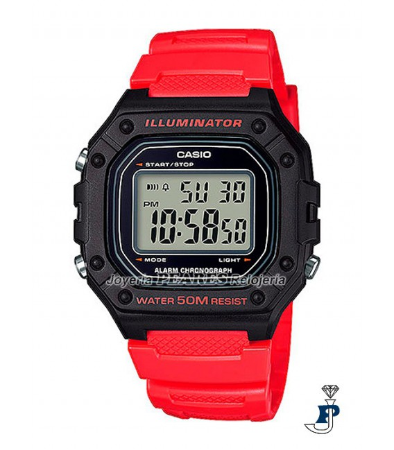 Reloj Casio digital rojo. - W-218H-4BVEF